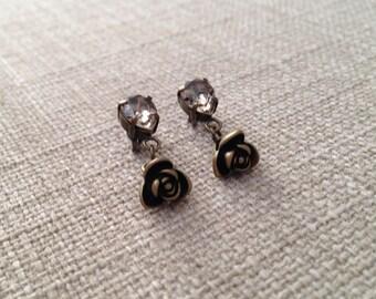 Rose Antique Brass Crystal Earrings, Elegant Earrings, Rose Earrings, Crystal Earrings, Romantic Earrings, Wedding Gift, Christmas Gift