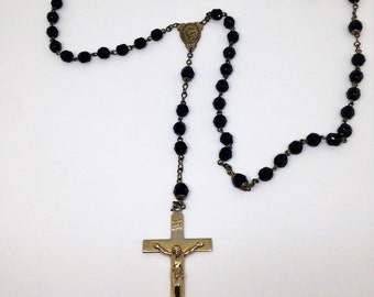 Vintage Black Beaded Rosary, Crucifix Rosary, Hexagon Beaded Rosary, Prayer Beads, Rosary Beads, Church Beads