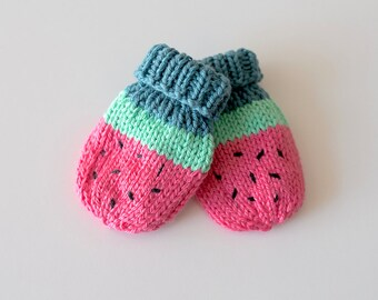 PDF - Baby Watermelon Mittens - KNITTING PATTERN