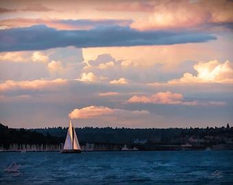 Sailboat at Sunset off Alki Beach, Interior Design Downloads