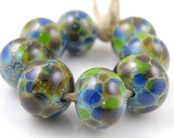 Planet Earth SRA Lampwork Handmade Artisan Glass Donut/Round Beads READY to SHIP Set of 8 8x12mm