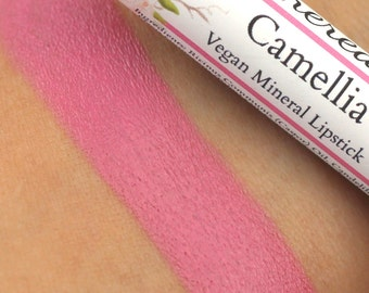 "Vegan Pink Lipstick - ""Camellia"" (rose pink lipstick) natural mineral lipstick"