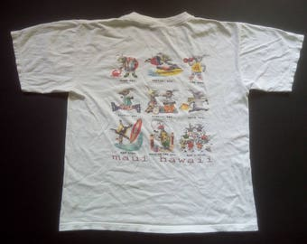 Vintage Maui Hawaii The Bad Ass Coffee Co White Short Sleeve Tshirt Size M