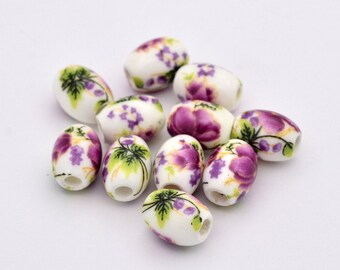 10mm X 8mm Purple Porcelain Floral Ovals Green and White Flower Beads 20 Beads Purple White Glass Ovals Green Leaves Yellow Flowers