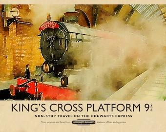 Retro Harry Potter Hogwarts Express Train King's Cross Watercolour Vintage Travel A4 A3 A2 Poster Print