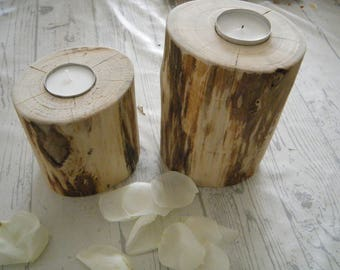 lot 2 Driftwood candle holders