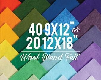 Wool Felt Sheets // Choose your own colors  // Wool Felt Supplier, Etsy Supplies, Heirloom Crafts, Quiet Book, Wool Blend Felt, Wool Fabric