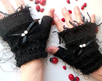 Crocheted Cotton Gloves Women M Ready To Ship Victorian Fingerless Summer Opera Wedding Lace Evening Hand Knitted Bridal Party Black B42