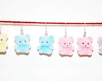 Fuzzy Teddy Bear Earrings in 5 colors