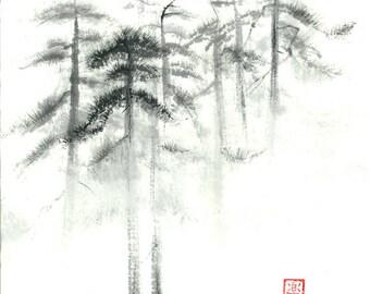 "Digital Download ""Pine trees in fog"" - Set of 2 files"