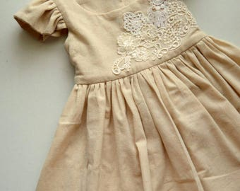 Lace Applique Muslin Cotton Toddler Dress Handmade by Papoose Clothing