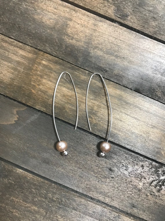 Silver threader earrings with smoke glass pearls