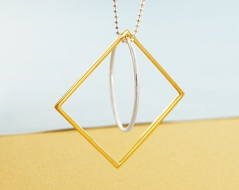 Gold & Silver Necklace, Square Necklace, Mixed Metal, Long Necklace, Geometric Necklace, Gold Jewelry, Ball Chain Necklace, Fashion Jewelry