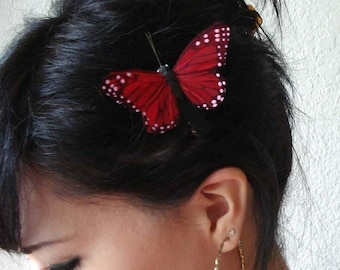 red butterfly hair clip - butterfly hair accessories - whimsical hair piece - bohemian hair accessory - women's accessory - boho - APPLE
