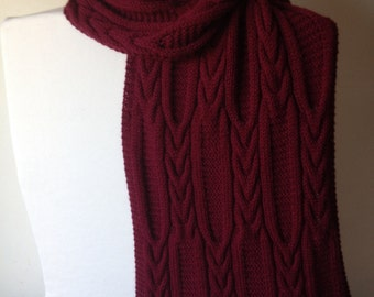 Handmade Burgundy/ Red Scarf, 100% Wool