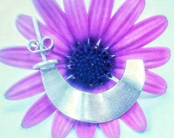 Earrings waves in hoops. Sterling Silver. Special for her.