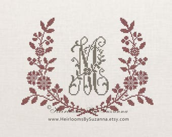 Floral Garland Monogram Frame, Large Flower Garland Design, Machine Cross Stitch Embroidery, Floral Antique Design, Large Vintage Design
