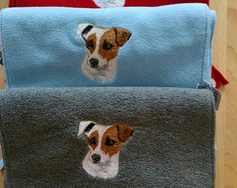 Embroidered Jack Russell Scarf