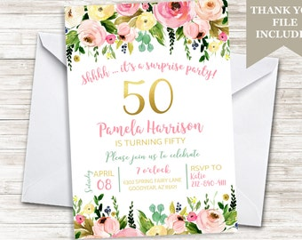 50th Birthday Floral Womens Adult Fifty Fiftieth Watercolor Flowers Invitation Invite 5x7 ANY AGE