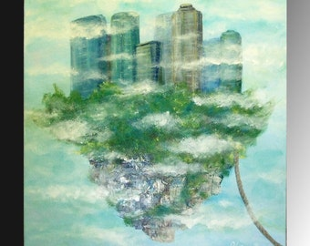 wife gift Island in sky original canvas wall decor acrylic painting Valentines day gift  fantasy art city painting blue green room decor