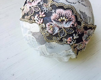 Elsie - Black Lace - Blush Pink Cream Lace Headband - Vintage Flowers - Girls Newborns Baby Infant Adults