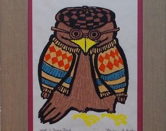 Just A Brown Bird, a woodcut/serigraph by Barbara Fernekes Hughes
