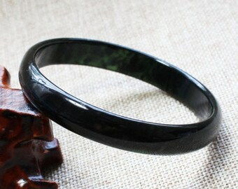 Deep Black Green Nephrite Jade  Bangle Bracelet 54 mm to 72 mm