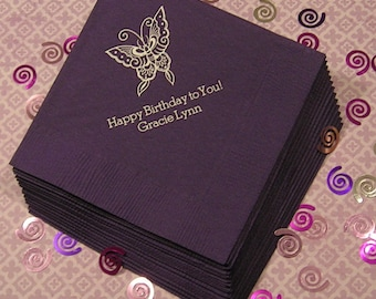 kids birthday butterfly napkins childrens birthday napkins Set of 50 childrens personalized napkins beverage and luncheon size