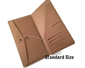 Kraft File Folder with Envelope Insert for Traveler's Notebook Standard Size Credit Card Holder Midori Accessories