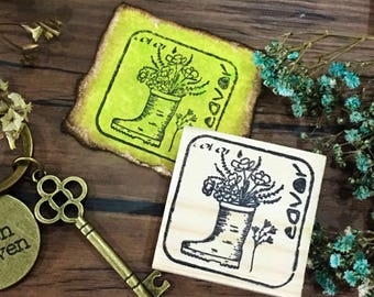 WHIMSY POTS - Boot • Wood Mounted Rubber Stamp
