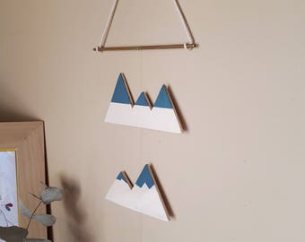 Mobile mountains • Decoration • wall cut and handpainted wood • blue •