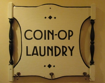 Vintage Laundry Sign Coat Rack