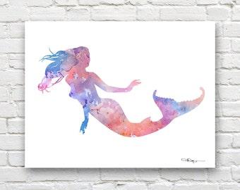 Mermaid Art Print - Abstract Watercolor Painting - Wall Decor