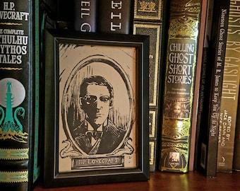 H.P. Lovecraft - Linocut Block Print