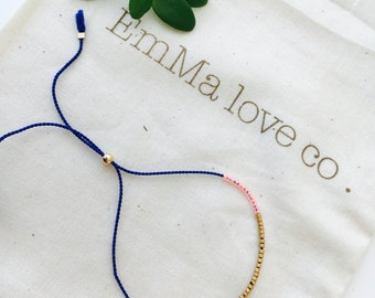 Blue String Bracelet / Minimalist Bracelet / Adjustable Bracelet / Stackable Bracelet / Silk String