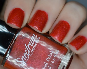 KRAMPUS Linear Holographic RED Nail Polish