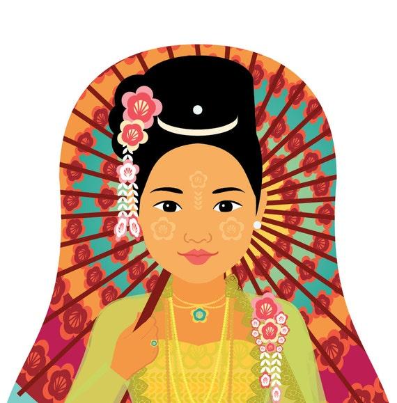 Burmese Myanmar Doll Art Print with traditional dress, matryoshka