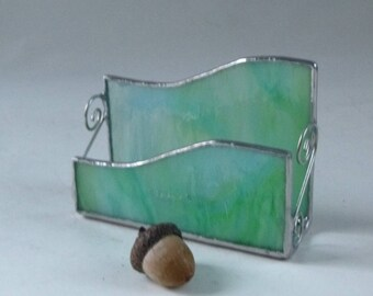 Stained glass business card holder - aqua glass, blue green glass, gifts under 25, new business gift, desk organizer, business owner gift