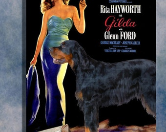 Gordon Setter Vintage Movie Style Poster Canvas Print  - Gilda  Perfect DOG LOVER GIFT Gift for Her Gift for Him Home Decor