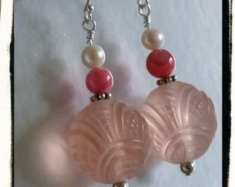 Pinky Peach Springy Summer Earrings -- Vintage Carved Lucite, Mother of Pearl, Freshwater Pearl and Sterling Silver -- Gift Idea