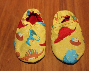 Dinosaur booties, cloth moccasins, baby booties, crib shoes, kids footwear, skid proof bottom, soft sole shoes, baby shoes