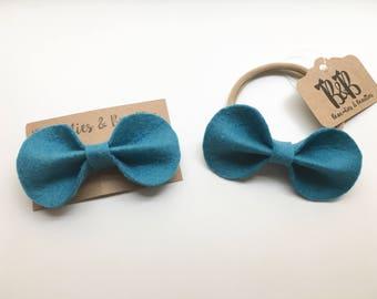 Ocean Blue Felt Hair Clip, Ocean Blue Felt Hair Bow, Blue Hair Clip, Blue Hair Bow, Blue Headband, Toddler Hair Clip, Baby Headband