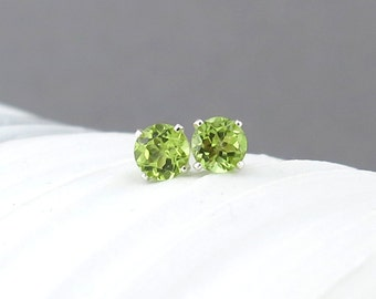Peridot Stud Earrings Tiny Silver Post Earrings Green Earrings Gemstone Stud Earrings August Birthstone Jewelry Gift for Her