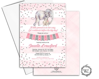 elephant baby shower invitation girl pink gray, stripes heart confetti, printable or printed baby shower invite animals elephant - WLP00867