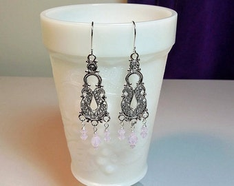 Swarovski Pink Opal Chandelier Earrings, ONLY ONES, Mothers Day Christmas Bridesmaid Mom Sister Girlfriend Wife Birthday Jewelry Gift