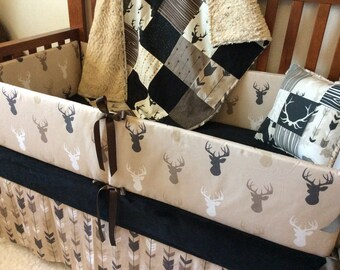 Crib Set - Midnight Woodland Nursery-  Black, Tan, Brown Deer Crib Set - Baby Boy Bedding