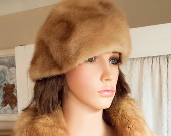 Vintage mink fur hat Real mink hat 50s mink fur hat Genuine mink fur hat Honey blonde mink hat High quality mink fur hat Excellent condition