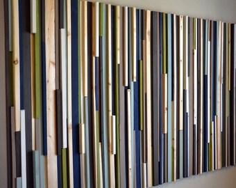 Modern Rustic Wood Sculpture Wall Art - Lines - 36 x 72