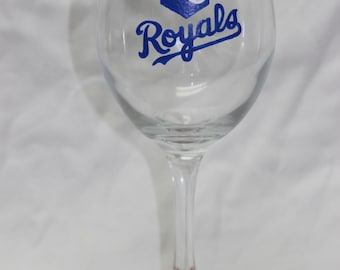 Hand Painted Kansas City Royals Wine Glass