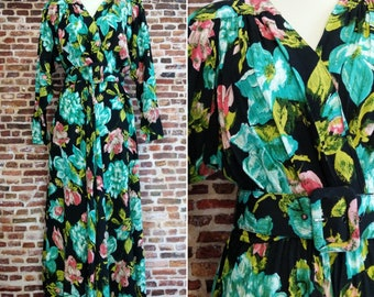 Vintage 80's Dress Size Small Black Floral Print Long Sleeve Carol Anderson California Rayon Modest